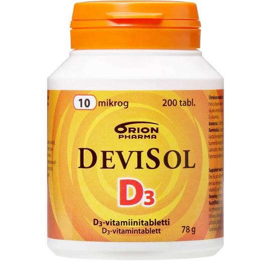 DeviSol 10 mkg. Витамин D3 10 мкг. Жевательные таблетки с фруктовым вкусом. 200 табл. Финское качество. Общее описание: Витамин D, являясь одним из важнейших витаминов, укрепляет костную ткань, организм в целом, а также поддерживает зубы в хорошем состоянии. Нужен людям всех возрастов. Легко усваиваемый, приятный на вкус DeviSol обеспечивает суточную норму витамина D взрослым и детям. Витамины группы D от DeviSol обеспечивают суточную норму витамина D детям и взрослым круглый год. В продукции DeviSolвитамин D легко усваивается благодаря усовершенствованной форме - D3. Продукция DeviSol не содержит лактозы, глютена, дрожжей, сои и желатина. Таблетки для рассасывания DeviSol 10 mkgимеют маленький размер. Их можно жевать, рассасывать или глотать. В DeviSol 10 mkgсодержание витамина D соответствует рекомендованной норме для детей младше 2 лет и кормящих женщин. Фруктовый вкус DeviSol понравится как детям, так и взрослым. Таблетки DeviSol оказывают благоприятное воздействие на зубы за счет, содержащегося в них, сорбитола и ксилита. Дозировка: Рекомендуемая суточная доза: 1 табл. в день. Суточная доза (1 таблетка) DeviSol включает в себя 10 мкг витамина D3.