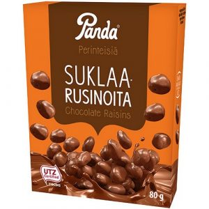 Изюм в молочном шоколаде Panda Suklaarusinoita, 80 гр