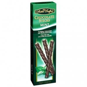 Шоколадные палочки с мятным вкусом Maître Truffout Chocolate Sticks Mint, 75 гр Ингредиенты: Сахар, какао тертое, молоко сухое цельное, какао-масло, лактоза, кофе (0,8%), растительный жир, эмульгатор: лецитин подсолнечника, ароматизатор.